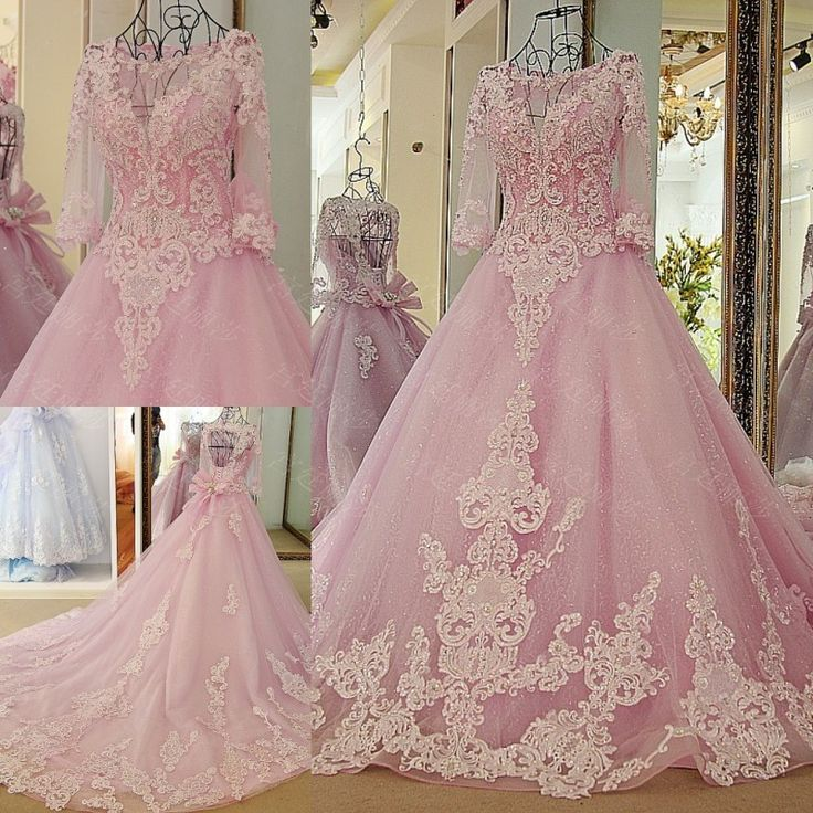 AHS066 New Arrival Open Back Pink Tulle Train Prom Dresses with Appliques 2017