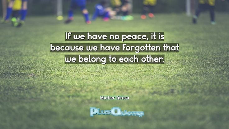 """""""If we have no peace, it is because we have forgotten that we belong to each other.""""- Mother Teresa. Mother Teresa � biography: Author Profession: Saint Nationality: Albanian Born: August 26, 1910 Died: September 5, 1997 Wikipedia : About Mother Teresa Amazone : Mother Teresa  [amazon_link asins='0307589234,0062026143,1577312015,038553180X,0345397452,0140196072' template='ProductGrid' store='plusquoter-20' marketplace='US' link_id='0']   #Peace #Because #Belong #Eac"""