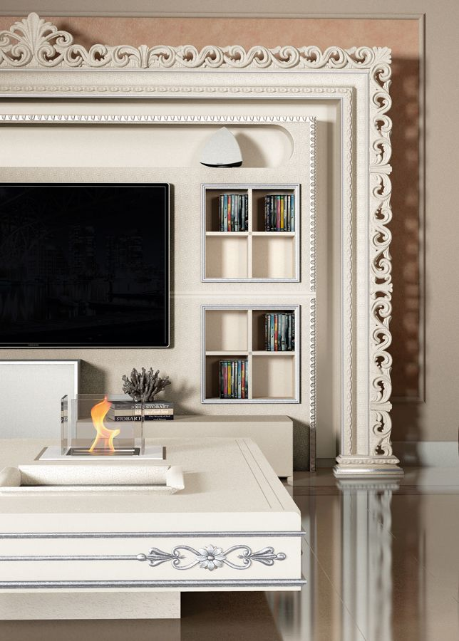 Detail of the famous Vismara The Wall Home Cinema in baroque style, perfect to be placed also in contemporary settings! #vismaraDesign #luxuryfurniture #luxurystyle #homeinterior #italianfurniture