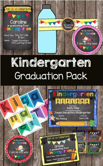 KINDERGARTEN GRADUATION - free printables for an adorable celebration! Editable diplomas, invitations, favors, banners and more!  I am throwing the CUTEST ceremony and party with these decorations.
