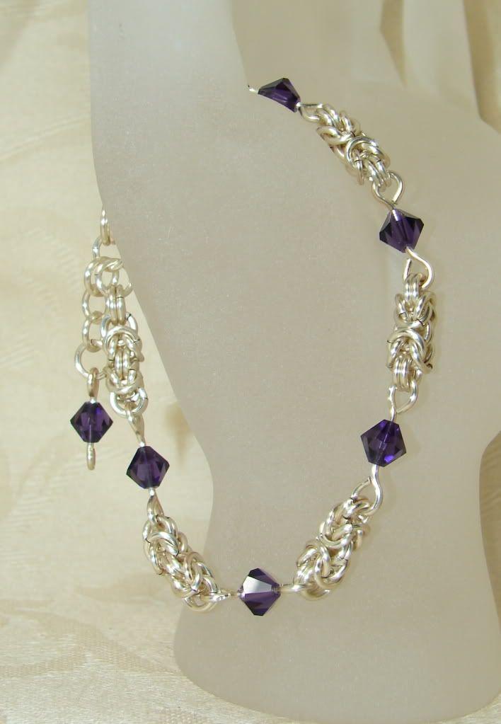 Silver Purple Crystal Byzantine Chain Mail Bracelet