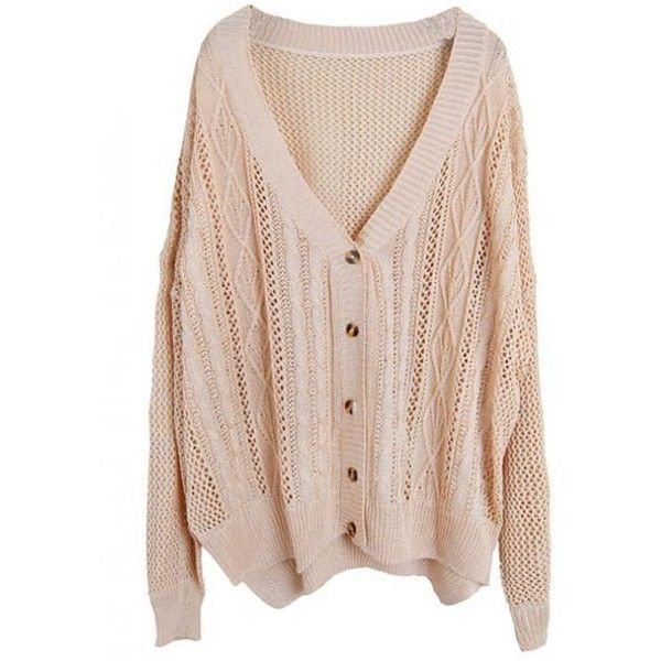 Hollow Out V Neck Beige Sweater$46.00 ($46) ❤ liked on Polyvore featuring tops, cardigans, sweaters, outerwear, beige cardigan, vneck cardigan, women tops, v neck cardigan and cardis