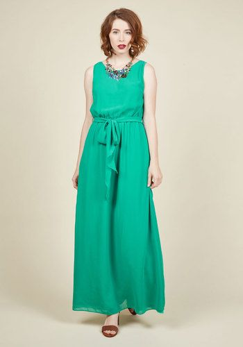 Some see soirees as mere opportunities to look pretty, but you don this bright green maxi dress with networking in mind! The flowy, awe-inspiring silhouette of this chiffon ModCloth exclusive is a marvelous convo-starter - and, topped off with a sash-cinched waist, this dress allows your confidence to soar!