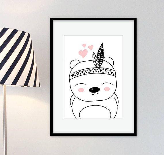 Kunstdruck\Poster Indianer Bär *Budy* Pastell Kinderzimmer