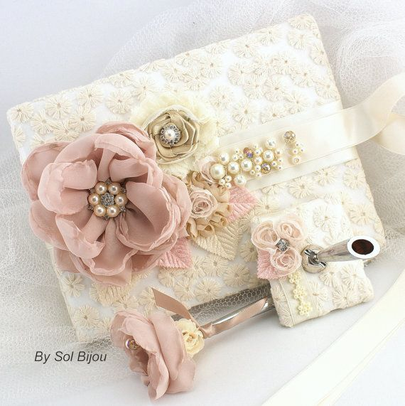 Wedding Guest Book and Pen Set Signature Book in Blush Pink, Champagne and Ivory- Marie Antoinette on Etsy, $130.00