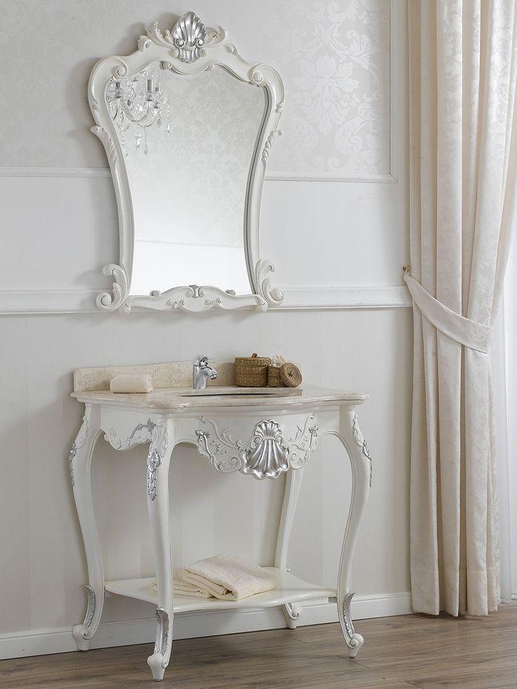 Consolle lavabo e specchio stile barocco moderno bianco laccato particolari foglia argento - Specchio argento moderno ...