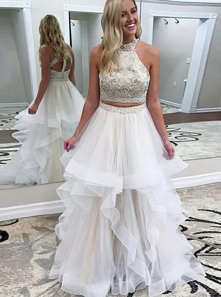 d59f6cae1e Two Piece OfftheShoulder Half Sleeves Grey Prom Dress with
