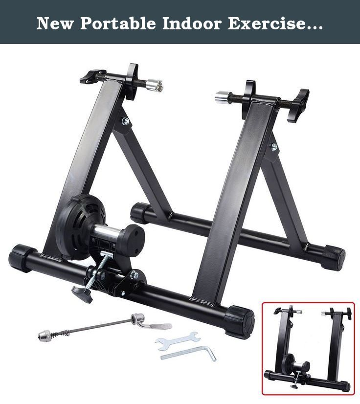 New Portable Indoor Exercise Magnetic Resistance Bicycle Trainer Bike Stand. Brand-New And Durable Solid Construction Easily Clamps Down On Quick Release Or Bolts Onto Your Bike's Rear Wheels Offers Effective And Convenient Indoor Training Heavy Duty Steel Frame Smooth, Quiet Magnetic Resistance Can Hook Up To Most Bikes Portable And Can Be Folded Easily For Travel And Storage Fits 26-28 Inches Or 700C Bike Wheels With Quick Release Easy To Assemble Specifications Suitable For 26''~28''…