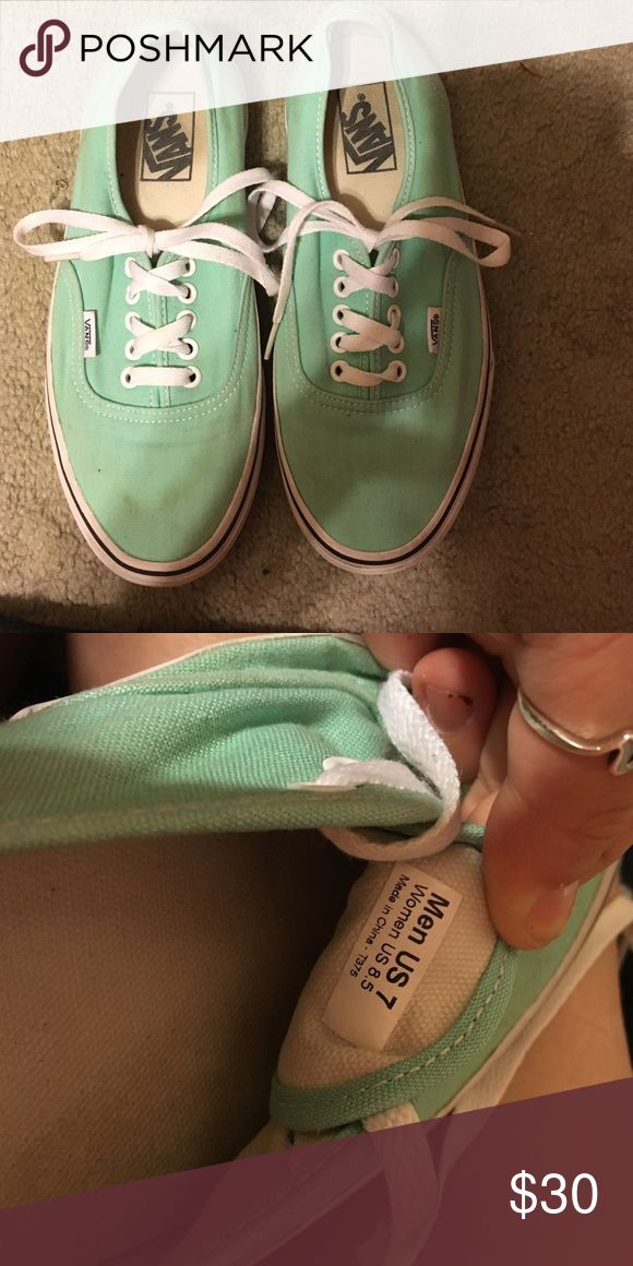 Mint Vans Good condition mint vans, very small stain on right foot, size in women's Vans Shoes Sneakers