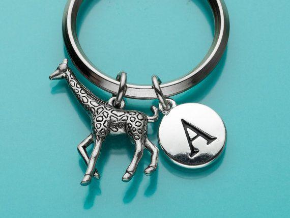 Giraffe Keychain Giraffe Key Ring Initial by promisemeeverything2