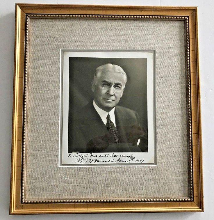 rare 1947 Bernard Baruch signed autograph TO Robert Moses Framed PHOTO signature #eBayDanna
