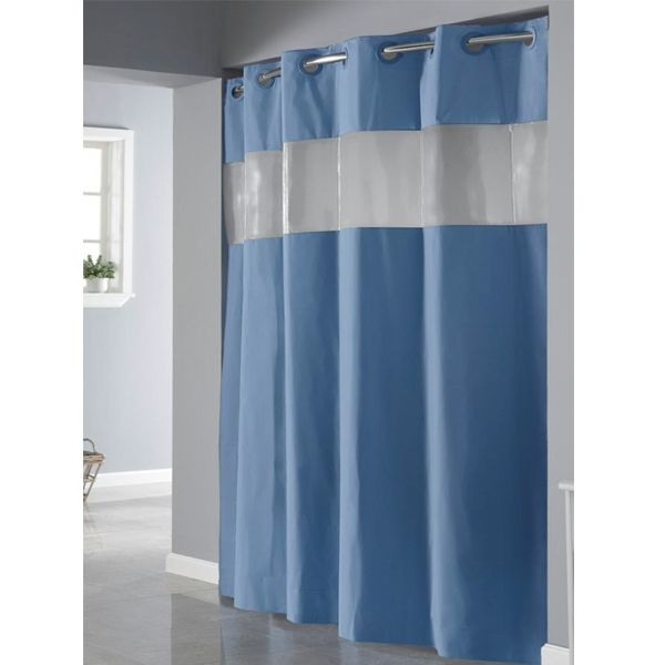 Red Hookless Shower Curtain Part - 15: Vision Blue Non Toxic PEVA Hookless Shower Curtain