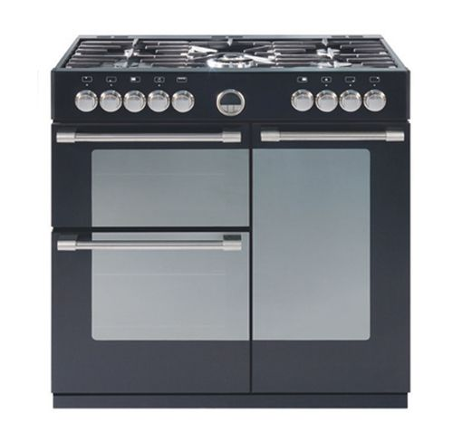 BELLING, 90cm STERLING, dual fuel, black & stainless.  B900DF_oz