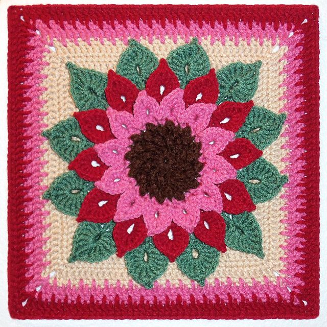 Ravelry: The Crocodile Flower pattern by Joyce Lewis: Free Crochet, Crocodiles Stitches, Crochet Squares, Afghans Squares, Granny Squares, Crocodiles Flower, Crochet Patterns, Free Patterns, Flower Patterns
