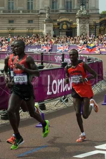 The medalists pass the 18 mile mark in the Men's Olympic Marathon. Champion Stephen Kiprotich of Uganda makes the move that kept him clear of Kenyans Abel Kirui and Wilson Kiprotich.