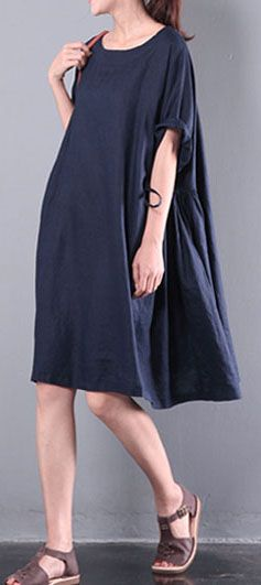 navy baggy loose linen dresses sundress patchwork short sleeve shift dress