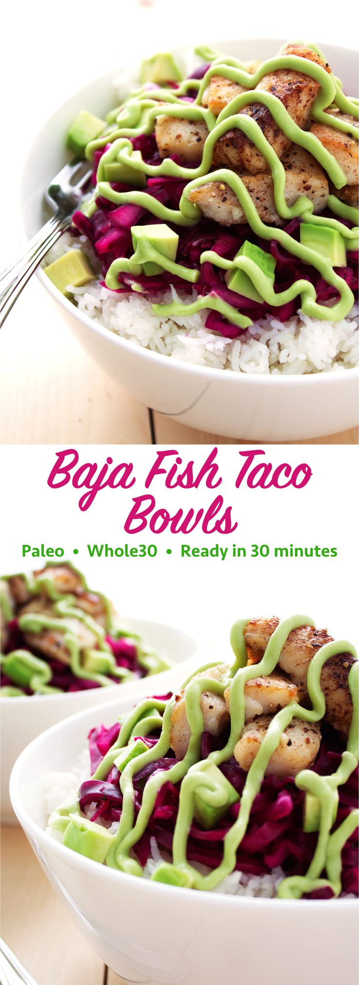Classic California-style fish tacos put in a bowl and turned paleo! These Baja fish taco bowls are packed with flavor and crunch! They are also gluten free, low carb, keto, Whole30…