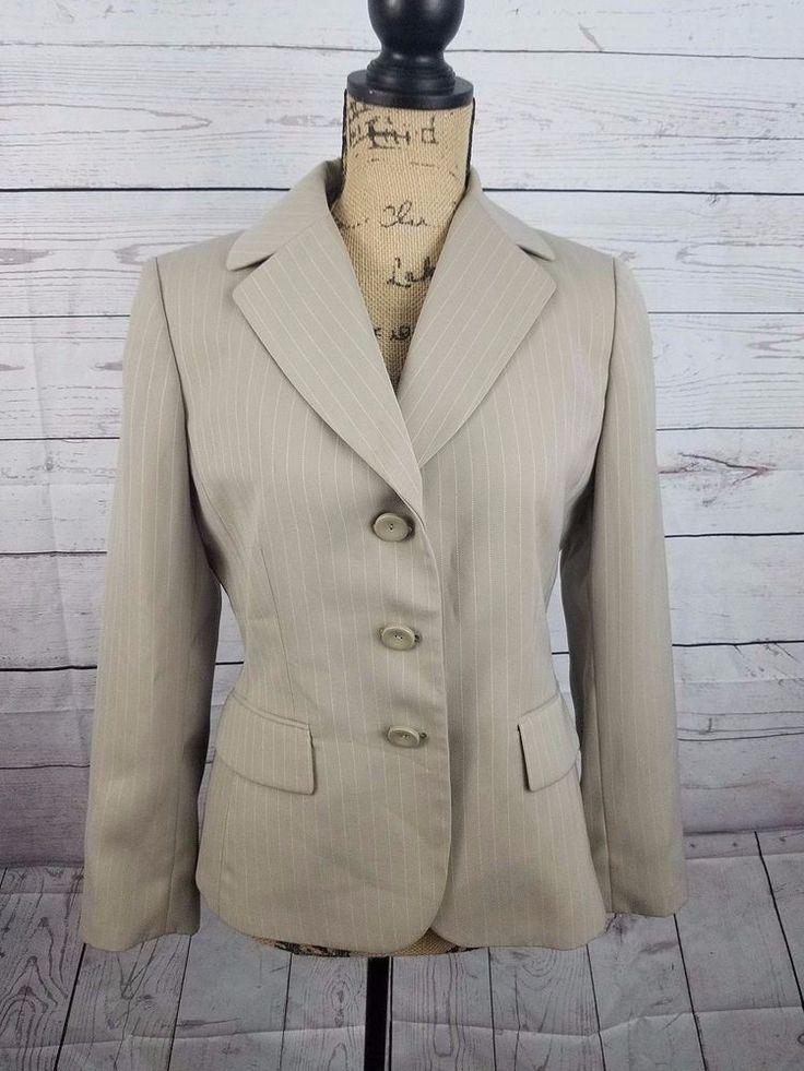 Tahari Arthur S Levine Womens Petite Blazer Jacket 6P Taupe White Stripe Lined #Tahari #Blazer #Career