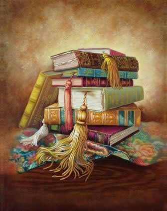 "OLD BOOKS 1 print © Judy Gibson (Artist). Fine Art Print 11x14"" $15 USD ... Pin from the Primary Source."