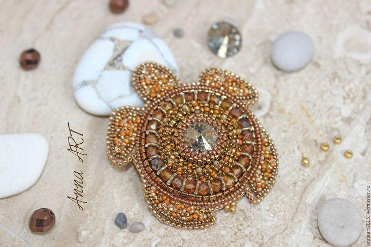 Beautiful Russian turtle brooch using bead embroidery.