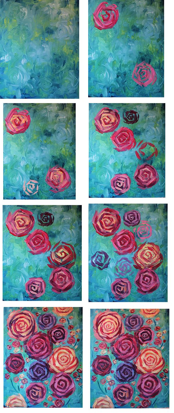 Rose is a Rose process. Large square brush and medium square brush.