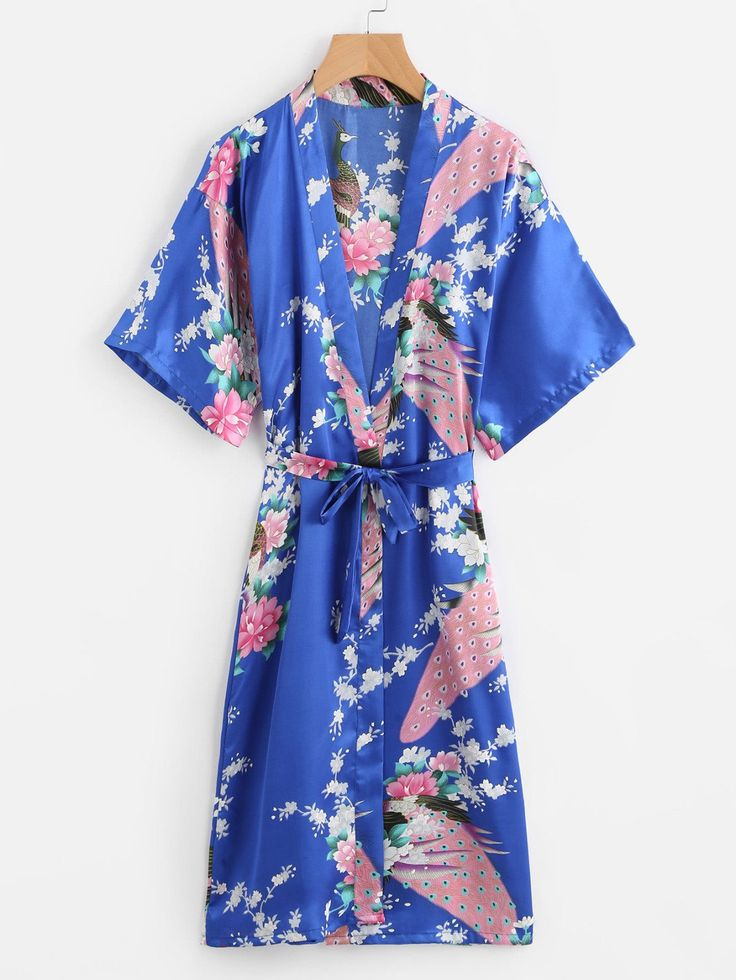 Loungewear by BORNTOWEAR. Peacock Print Satin Kimono Robe With Belt