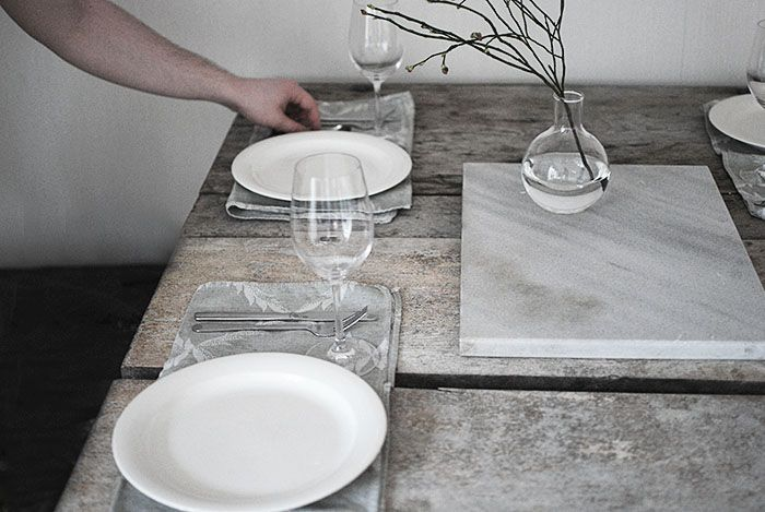 clean table setting for a friday dinner