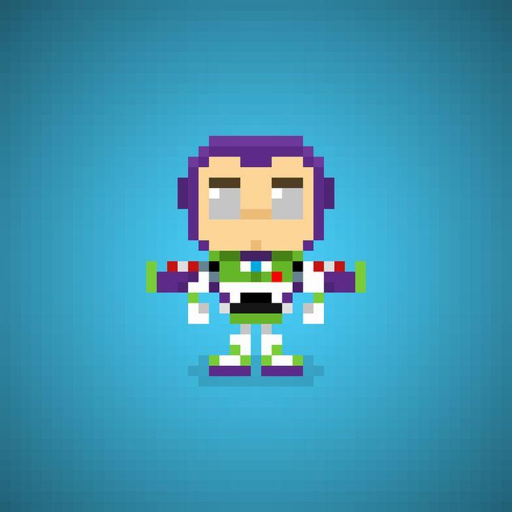 Buzz Lightyear (Tim Allen) from Toy Story Series #buzz #buzzlightyear #spaceranger #timallen #massimodapporto #disney #pixar #disneypixar #andy #cartoons #cartonianimati #sceriffo #cowboy #cowboys #pixel #pixelart #16bit #instacartoon #toys #toystory #instatoys #giocattoli
