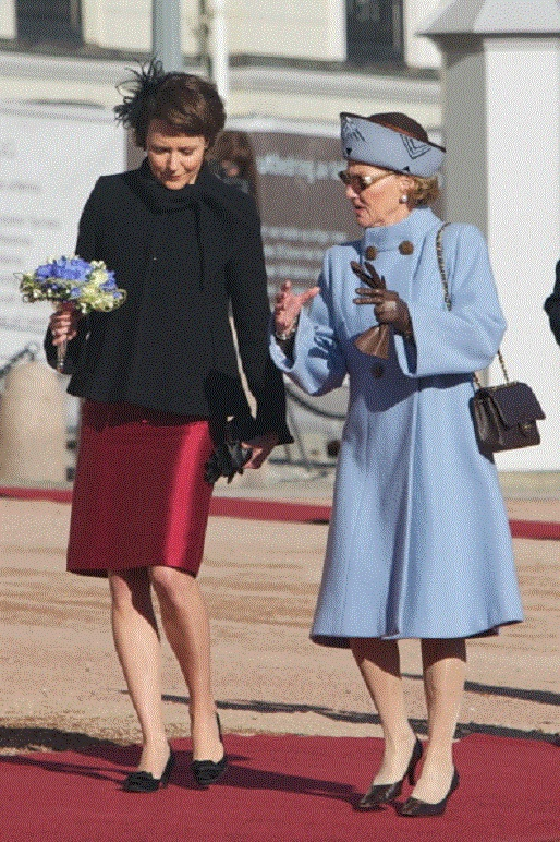 First Lady of Finland Jenny Haukio & Queen Sonja of Norway during the 1st day of the Finnish state visit on 10 Oct 2012 in Oslo