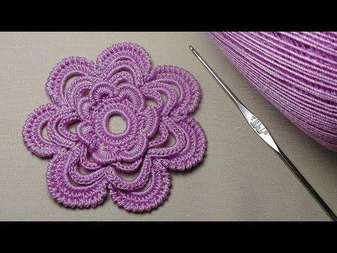 Урок вязания многослойного ЦВЕТКА - crochet flower - 3D Flowers Crochet - YouTube