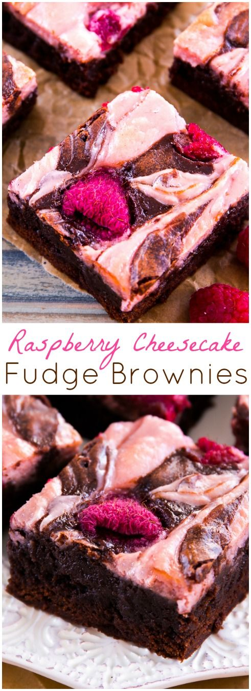 Fudge Brownies with a Raspberry Cheesecake Swirl - Recipe by @Sally [Sally's Baking Addiction]