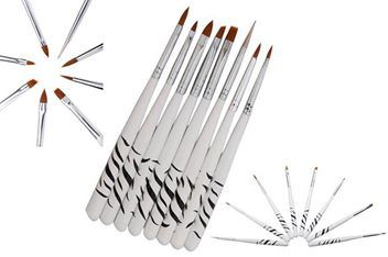 Set of 8 x Acrylic Nail Art Brushes & Tool