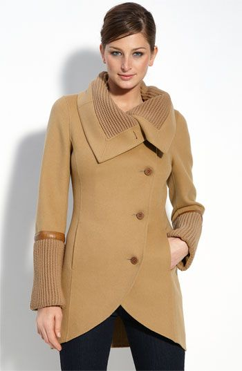 Mackage 'Tessa' Wool Blend Coat with Knit & Leather Trim