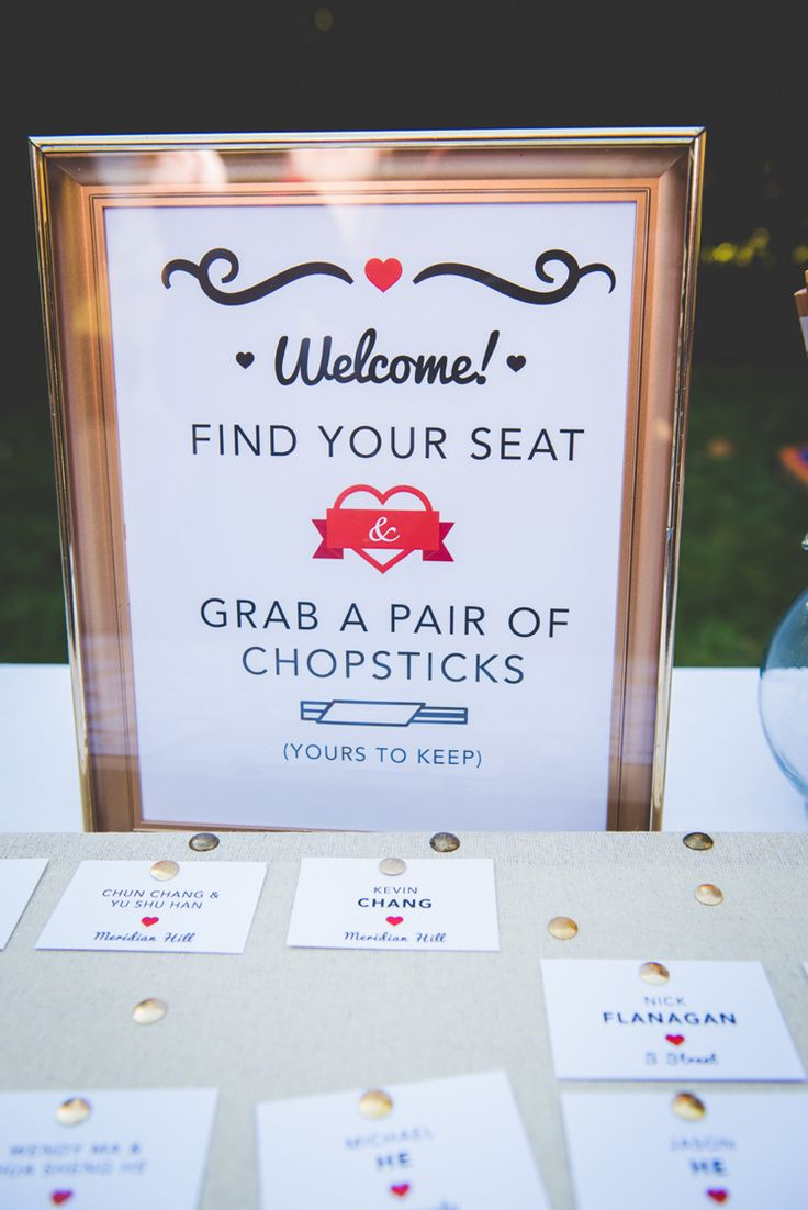 Chopstick Table Seating Chart Plan Escort Cards Quirky Red Outdoor Multicultural Chinese Tea Ceremony Wedding  http://www.bgproonline.com/