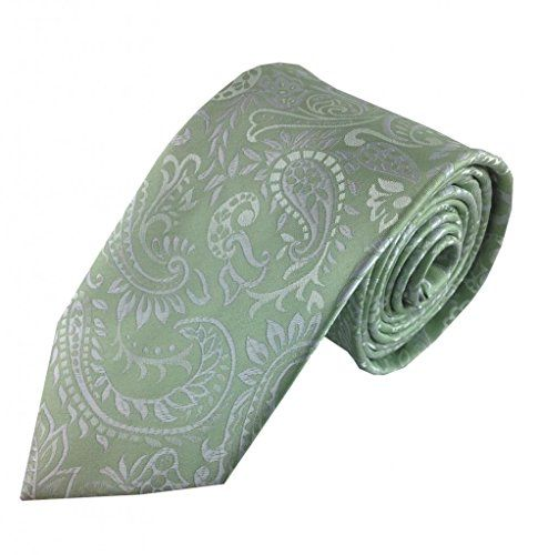 Soft Mint Green and Silver Paisley Tie - Umo Lorenzo Neckties - http://droppedprices.com/ties/soft-mint-green-and-silver-paisley-tie-umo-lorenzo-neckties/