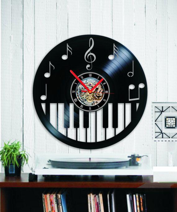 Vinyl clock piano keybord Wall clock Music clock by Indigovento