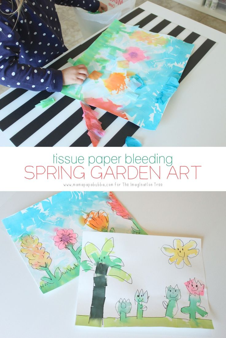 Make some beautiful spring themed tissue paper bleeding art to brighten up the walls! Only 2 materials needed for this spring flowers art project for kids!