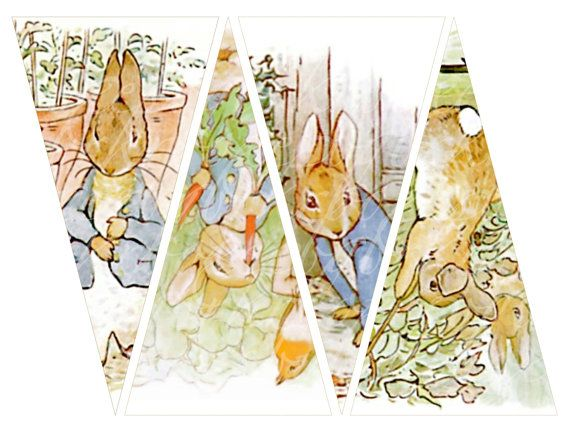 instant download of Peter Rabbit banner, twelve triangles, 3.9 X 7.5 inches each, printable download for paper crafts  --  no. 379 on Etsy, $4.33 CAD