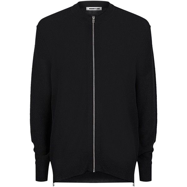 McQ Alexander McQueen Open Knit Cardigan ($570) ❤ liked on Polyvore featuring men's fashion, men's clothing, men's sweaters, mens zipper sweater, mens zip cardigan sweater, mens cardigan sweaters and mens zip sweater