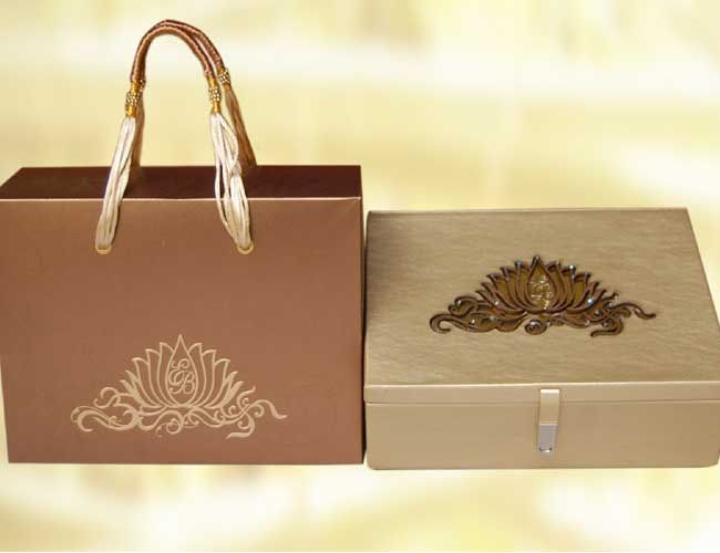 esha deol39s wedding invitation cards with box and bag With indian wedding invitations in a box