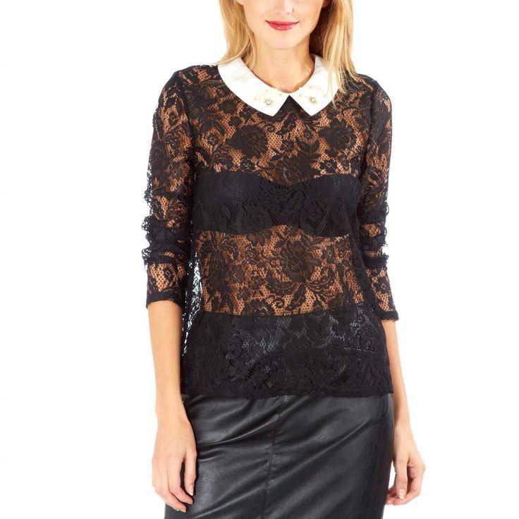 Tee-shirt en dentelle et col claudine bijou Femme - Kiabi - 10,49€