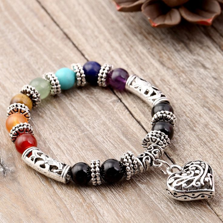 8mm Bracelet 7 Chakra Beads With Silver Heart
