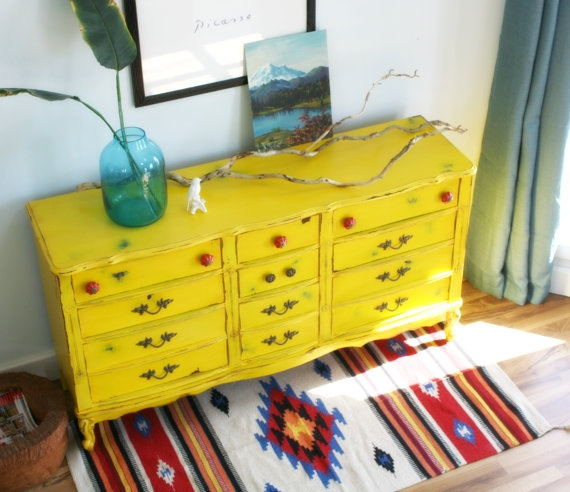 Vintage Yellow Distressed Dresser with Red by theTurquoiseIris, $550.00