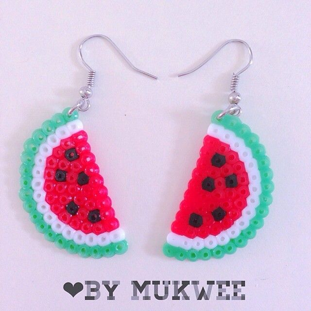 Watermelon earrings perler beads by bymukwee