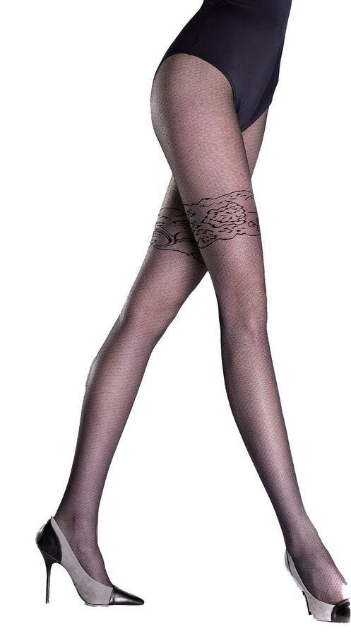 89d5459be Finezza Black Sheer Pattern Tights Woman Hosiery Knittex Pantyhose 20 Denier  Pattern Tights Sheer