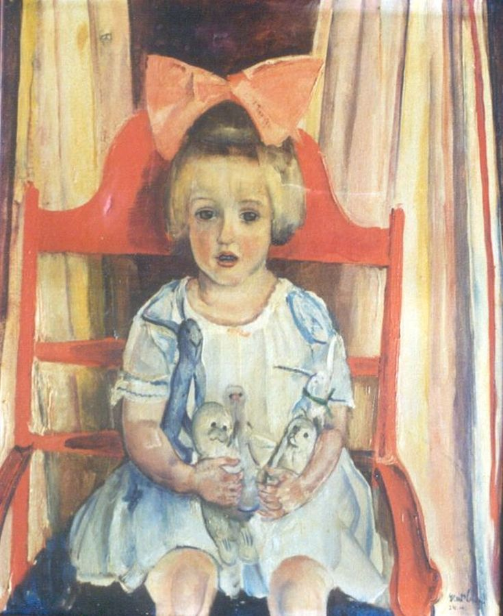 Meisje met strik, olieverf op doek 73,0 x 60,0 cm., gesigneerd r.o. en gedateerd '24 ernst v leyden
