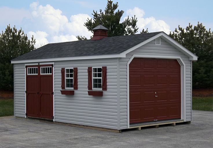 12x20 1 car garage with light gray vinyl siding barn red for Red barn prefab