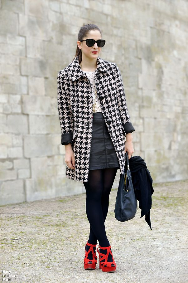 #houndstooth #dogtooth #coat #red