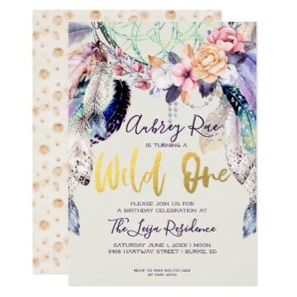 Boho Dreamcatcher Wild One Birthday Card - birthday cards invitations party diy personalize customize celebration