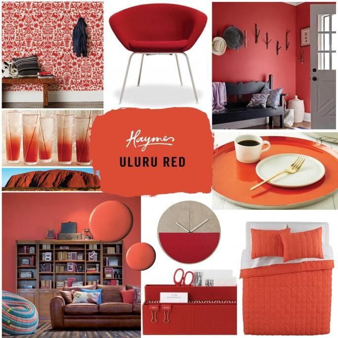 As the seasons change the rich colours of autumn will soon emerge. Haymes Uluru Red captures the warm, earthy tones of an Australian autumn. Images from left to right: red wallpaper from hyggeandwest.com; chair from abchome.com; countryliving.com; cocktails from marthastewart.com; tray from westelm.com; Haymes Uluru Red wall; clock from Freedom Furniture; stationery box from Kikki K; bedspread from cb2.com